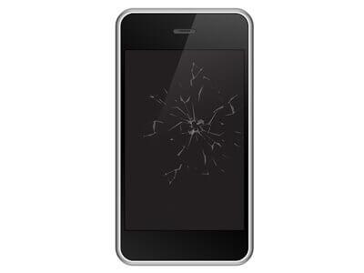 Aufgrund von Rissen im Display eines Smartphones ist eine Handyreparatur erforderlich.