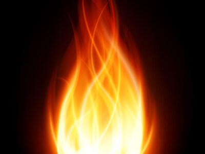 Durch das Verbrennen von Heizöl entsteht eine große Flamme.