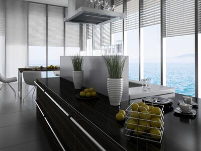 In einem stilvollen Haus wurde eine dazu passende Küche eingebaut.