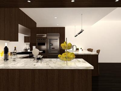 eine Küche mit sehr viel Arbeitsfläche