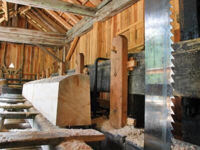 Rundholz wird zu Schnittholz verarbeitet, damit es in der Holzhandlung verkauft werden kann.